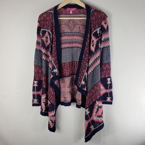 SAY WHAT Girl's Aztec Print Cardigan Size Large